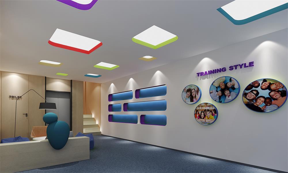 培训学校装修设计首先要有统一整体的风格,色彩,要有醒目鲜艳