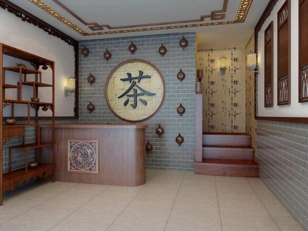 许多的店铺可以利用建筑物本身固有的结构特点,将复古的文化和情调加入其中茶店的墙面应该遵从素雅的原则,让茶文化的清新,雅致从墙面上飘扬出来。大理石地砖与青砖古意互为结合,还有那些实木花格隔断,都是茶社中的常见元素。这些协调的成分,使得整体空间感的递进而显得更为祥和,也更为惬意、闲适。    茶店的名称以及招牌可以引起消费者的注意,激发消费者的好奇心,因此,招牌的制作一定要精致,突出经营者的个性与茶文化的和谐统一。橱窗是茶店的第一展厅,它能直接刺激消费者的购买欲,橱窗尽量设计大一些,里面可以摆一些具有吸