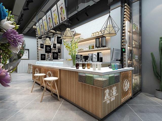 成都奶茶店装修设计案例,成都餐饮店装修设计